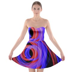 Background Blue Red Strapless Bra Top Dress