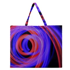 Background Blue Red Zipper Large Tote Bag