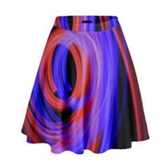 Background Blue Red High Waist Skirt