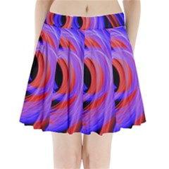 Background Blue Red Pleated Mini Skirt