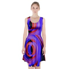 Background Blue Red Racerback Midi Dress