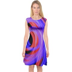 Background Blue Red Capsleeve Midi Dress