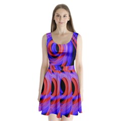 Background Blue Red Split Back Mini Dress