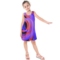 Background Blue Red Kids  Sleeveless Dress