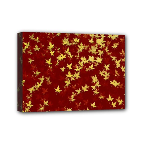 Background Design Leaves Pattern Mini Canvas 7  X 5
