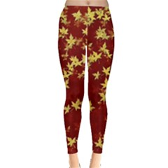 Background Design Leaves Pattern Leggings