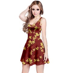 Background Design Leaves Pattern Reversible Sleeveless Dress