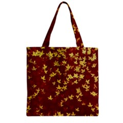Background Design Leaves Pattern Zipper Grocery Tote Bag