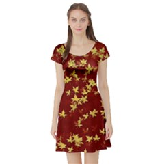 Background Design Leaves Pattern Short Sleeve Skater Dress