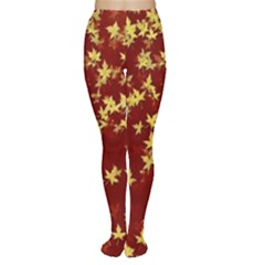 Background Design Leaves Pattern Women s Tights