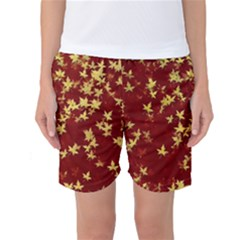 Background Design Leaves Pattern Women s Basketball Shorts