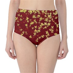 Background Design Leaves Pattern High Waist Bikini Bottoms