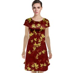 Background Design Leaves Pattern Cap Sleeve Nightdress