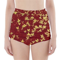 Background Design Leaves Pattern High-Waisted Bikini Bottoms
