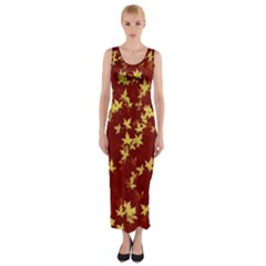 Background Design Leaves Pattern Fitted Maxi Dress