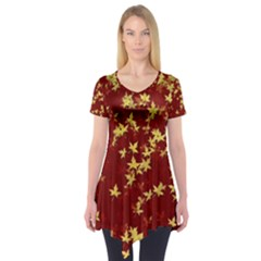 Background Design Leaves Pattern Short Sleeve Tunic