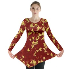 Background Design Leaves Pattern Long Sleeve Tunic