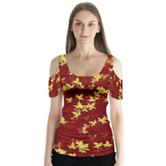 Background Design Leaves Pattern Butterfly Sleeve Cutout Tee