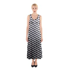 Background Wallpaper Texture Lines Dot Dots Black White Sleeveless Maxi Dress