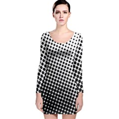 Background Wallpaper Texture Lines Dot Dots Black White Long Sleeve Bodycon Dress