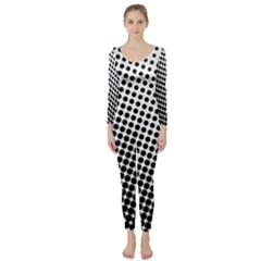 Background Wallpaper Texture Lines Dot Dots Black White Long Sleeve Catsuit