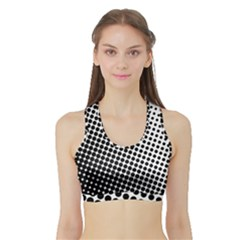 Background Wallpaper Texture Lines Dot Dots Black White Sports Bra With Border