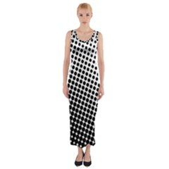 Background Wallpaper Texture Lines Dot Dots Black White Fitted Maxi Dress