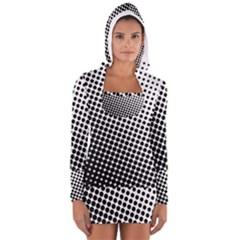 Background Wallpaper Texture Lines Dot Dots Black White Women s Long Sleeve Hooded T Shirt