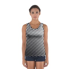 Background Wallpaper Texture Lines Dot Dots Black White Women s Sport Tank Top