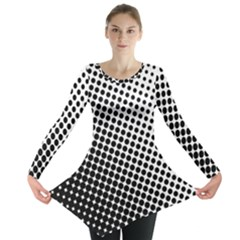 Background Wallpaper Texture Lines Dot Dots Black White Long Sleeve Tunic