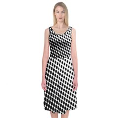 Background Wallpaper Texture Lines Dot Dots Black White Midi Sleeveless Dress