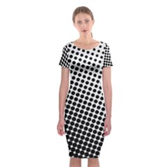Background Wallpaper Texture Lines Dot Dots Black White Classic Short Sleeve Midi Dress