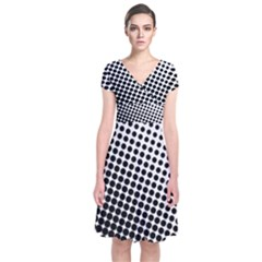 Background Wallpaper Texture Lines Dot Dots Black White Short Sleeve Front Wrap Dress