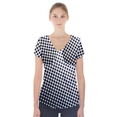 Background Wallpaper Texture Lines Dot Dots Black White Short Sleeve Front Detail Top