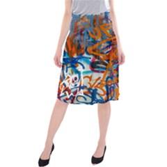 Background Graffiti Grunge Midi Beach Skirt