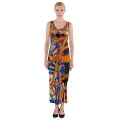 Background Graffiti Grunge Fitted Maxi Dress