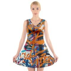 Background Graffiti Grunge V Neck Sleeveless Skater Dress
