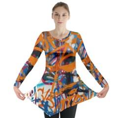 Background Graffiti Grunge Long Sleeve Tunic
