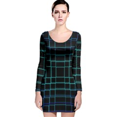 Background Wallpaper Texture Lines Long Sleeve Velvet Bodycon Dress