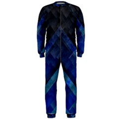 Blue Background Wallpaper Motif Design Onepiece Jumpsuit (men)