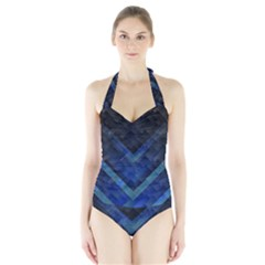 Blue Background Wallpaper Motif Design Halter Swimsuit