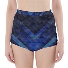 Blue Background Wallpaper Motif Design High Waisted Bikini Bottoms