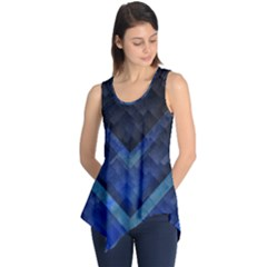 Blue Background Wallpaper Motif Design Sleeveless Tunic