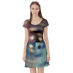 Blur Bokeh Colors Points Lights Short Sleeve Skater Dress