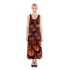 Brown Fractal Mathematics Frax Sleeveless Maxi Dress