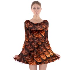 Brown Fractal Mathematics Frax Long Sleeve Skater Dress