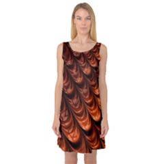 Brown Fractal Mathematics Frax Sleeveless Satin Nightdress
