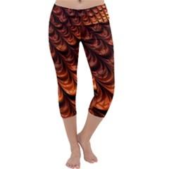 Brown Fractal Mathematics Frax Capri Yoga Leggings