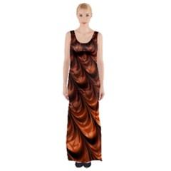 Brown Fractal Mathematics Frax Maxi Thigh Split Dress