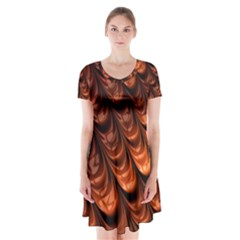 Brown Fractal Mathematics Frax Short Sleeve V Neck Flare Dress